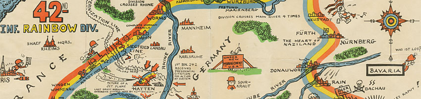 42nd Infrantry Rainbow Division Map World War II