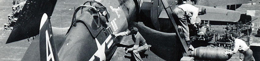 F4U Corsair loading bombs on USS Boxer CV-21