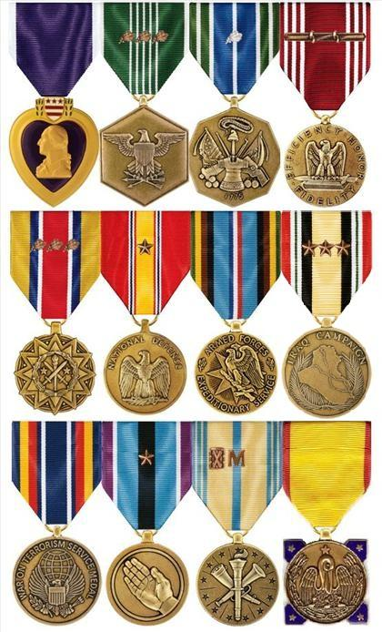 Medals earned over 15 years of honorable service to this country. Top Row: Purple Heart, ARCOM w/3 oak leaf clusters, AAM w/1 silver leaf cluster, and GCM with rope device and two knots. Middle Row: ARCAM w/3 oak leaf clusters, NDSM w/1 bronze service star, AFEM, and ICM w/3 bronze service stars Bottom Row: GWOTSM, HSM w/1 bronze service star, AFRM w/Bronze Hourglass & 'M' devices, LA Emergency Service Medal