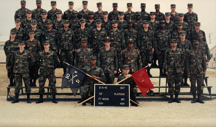 Picture of my Platoon taken in Basic Combat Training (BCT) at Fort Leonardwood, Missouri in Nov. 1991. I was in D (Delta) Company-1st Platoon, 5th Battalion, 10th Infantry Regiment. I'm in the top row, fifth from the left.