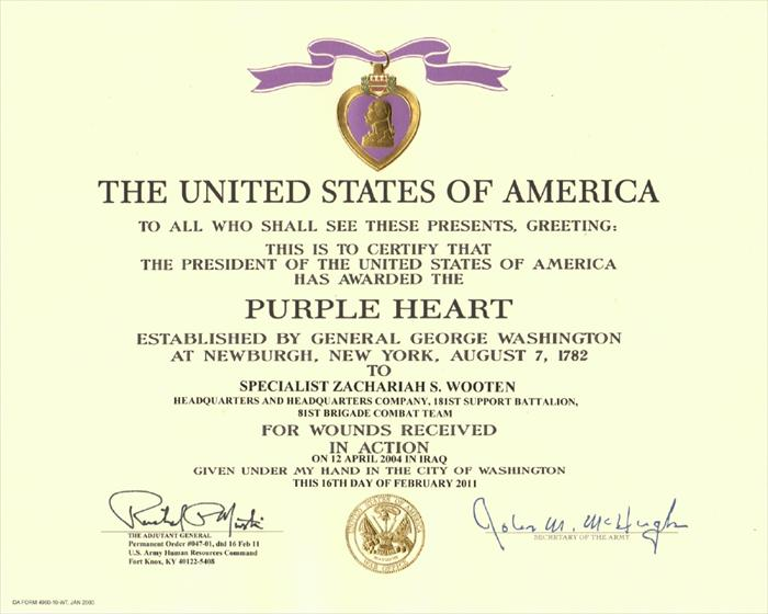 Here is the official certificate I received for my award of the Purple Heart for wounds received in combat, 12 Apr 2004.