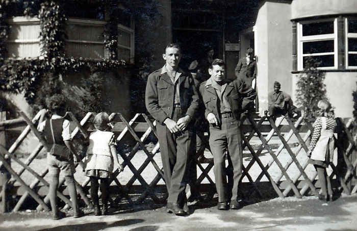 My grandfather to the left and Dessel White to the right in May 1946.