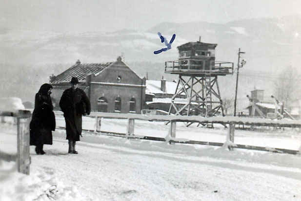 Guard tower in Camp Hallein. My grandfather spent most of his time in Hallein on guard duty.