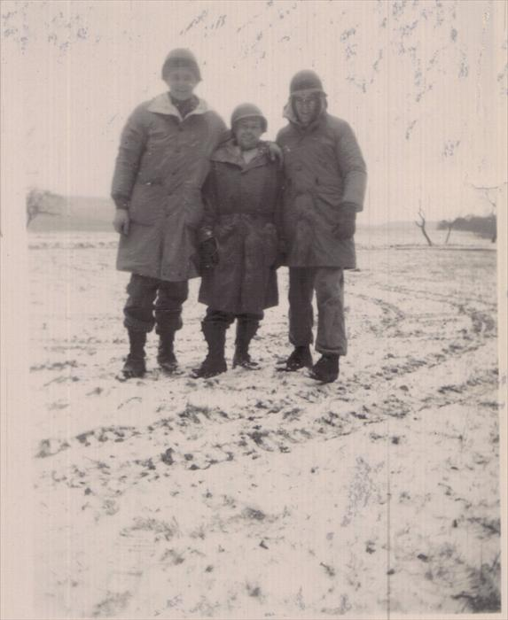 Stretch, Werre and Smitty, 1st ID Hq Co men on manuever 1951-1953