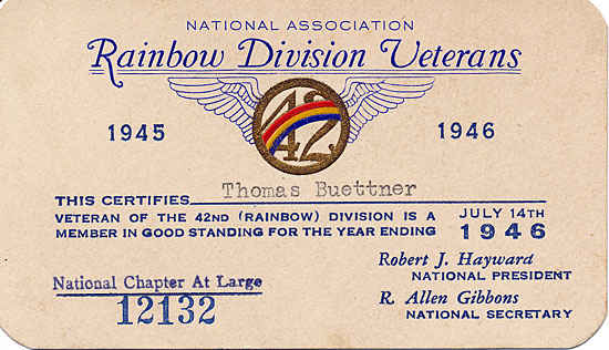 42nd Infantry card received after Thomas was honorably discharged.