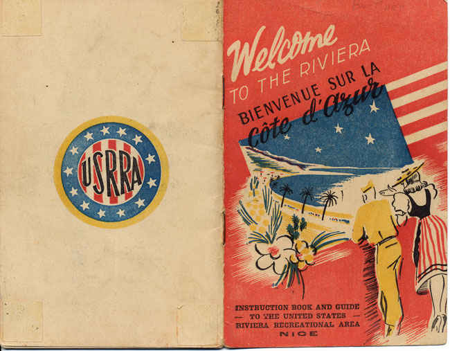 Riviera guidebook for post war soldiers. Taking tours after the war by service man was highly organized and very popular. My grandfather went on a 7 day tour of various locations in Nice, France after he was in the hospital to recuperate.