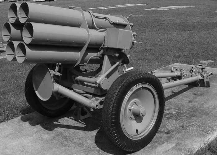 The Nebelwerfer had six 150 mm barrels, from which it fired 75 pound rockets; a full salvo spread over a period of ten seconds. The loud screeching noise of the rounds led U.S. soldiers  to nickname the gun the