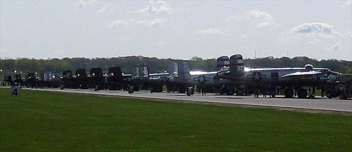 17 B-25 Mitchell bombers flew into Wright Patterson Air Force base to honor the four reminaing Doolittle Tokyo Raiders at their 68th reunion.