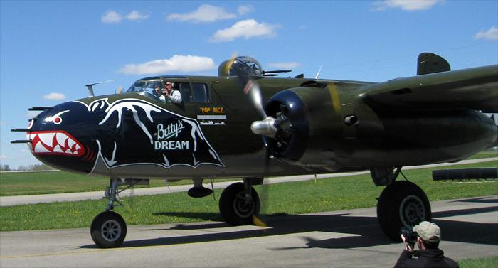 B-25 getting ready to take off in Urbana, Ohio. This B-25 participated in the Doolittle Raider Reunion in Dayton, Ohio earlier in the day.