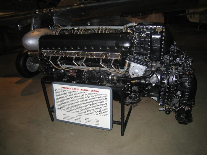 P-51 Merlin engine (Packard V-1650). This engine is liquid cooled and created by the British. The United States created its own Merlin engine for mass production in Detroit where over 16,000 were built. The Merlin engine was most known for its unique sound in the P-51 Mustang but also provided power to the Spitfire, Mosquito, Lancaster and even the P-40 in later models.