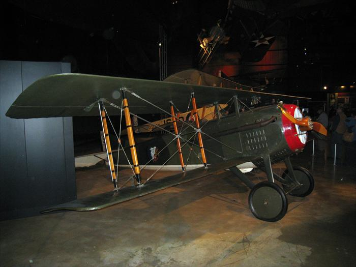 SPAD VII World War I airplane. American volunteers flew this plane with the French. The SPAD was also flown by British and French sqadrons on the front from 1916 through 1918.