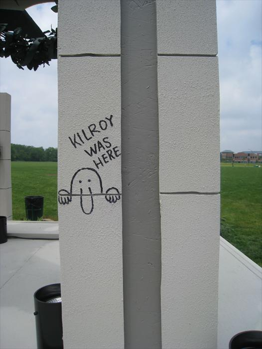 The legend of Kilroy Was Here. No one knows where it started, some say that a ship builder named Kilroy used it to mark rivets, some say it was used by inspectors to mark that work that was completed, and so the story continues. All that is really known is that the graffiti Kilroy Was Here because a huge part of pop culture from World War II into the 1950's. Soldiers most likely picked it up during ship transports to overseas then started writing it to signify semblance of home as they marched through the horrors of war.