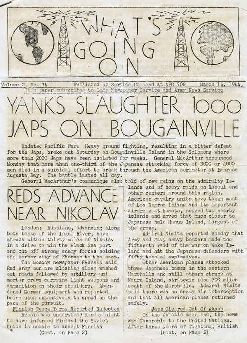 Bougainville newspaper March 15, 1944.