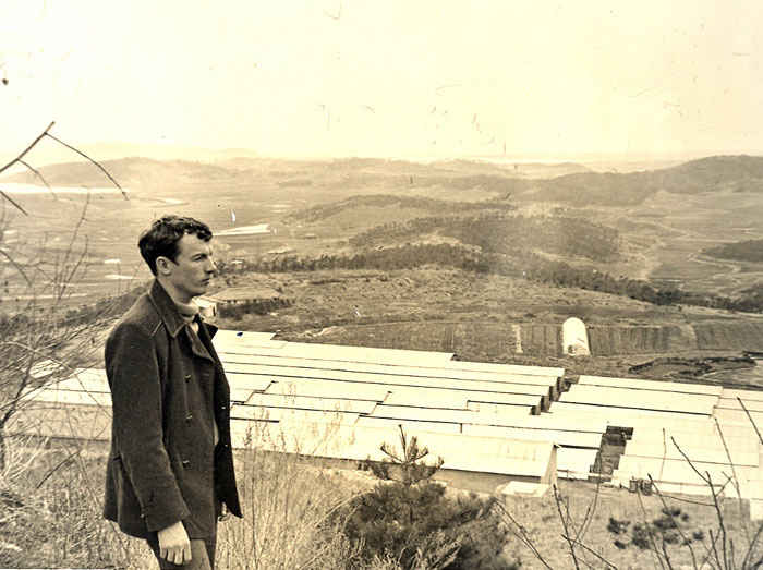 Dennis in Korea sightseeing a mink farm 1974.