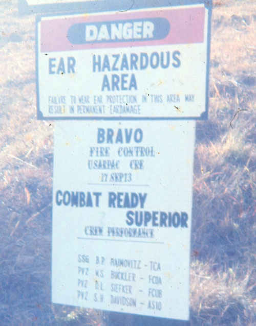 Korea 1974 Sign put up at B Battery Entry. Dennis Siefker 3rd name for meritorious firing of missile and combat ready superior.