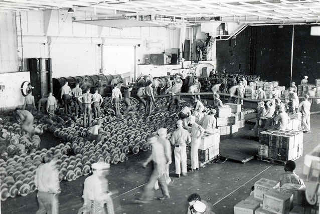 Loading the USS Boxer at sea would consume the entire aircraft carrier's resources.
