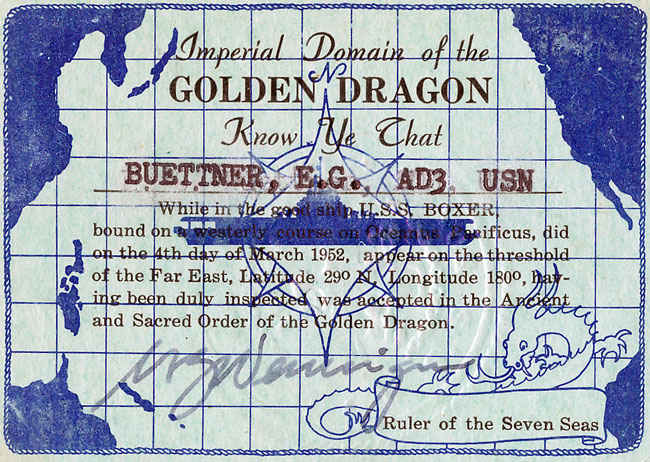 Imperial Domain of the Golden Dragon. Know as the 'International Date line', when a sailor crosses from East to West, a day is skipped. when crossed from West to East the day is repeated.