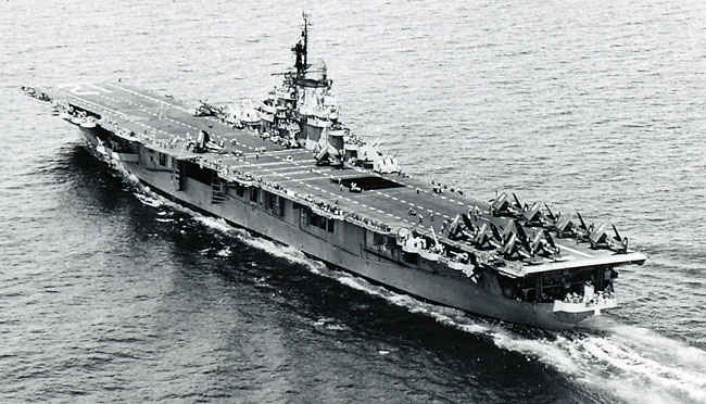 Korean Waters U. S. S. Boxer (CV-21) . The fifth Boxer was launched on December 14, 1944 and commissioned on April 16, 1945.