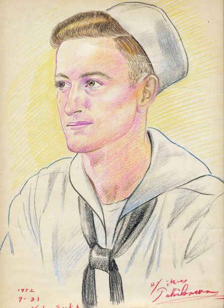 Portrait of Gene Buettner drawn in 15 minutes while on liberty in Yokosuka, Japan 7/31/1952. Even today, Yokosuka is the largest U.S. naval facility in Japan.