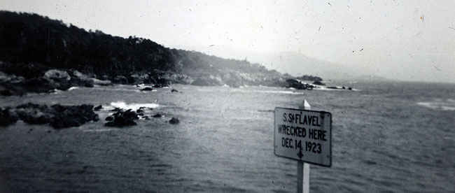 Along the 17-mile drive. Wreckage of Steam schooner S.S. Flavel,  which ran aground on rocks off of Cypress Point on December 14, 1923.