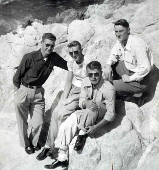Gene top right and friends, 17-mile drive California. 1951