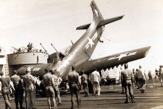 AD-2 Skyraider missed its mark on the carrier landing. It was an  attack bomber that was the backbone of the Navy during the Korean War..