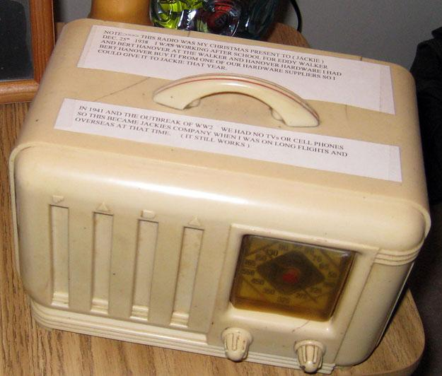 Robert's wife Jackie used this radio as company when Robert was on long flights overseas.This radio was a Christmas from Robert to Jackie on December 25th, 1938.