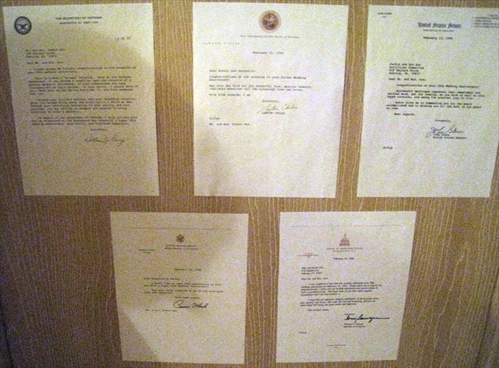 Letter from presidents like the Ford's, Clinton's and Bush's.