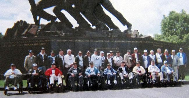 Honor Flight from Columbus, Ohio. The honor flight sends World War II veterans to the memorial for free so that every one of them has an opportunity see it.
