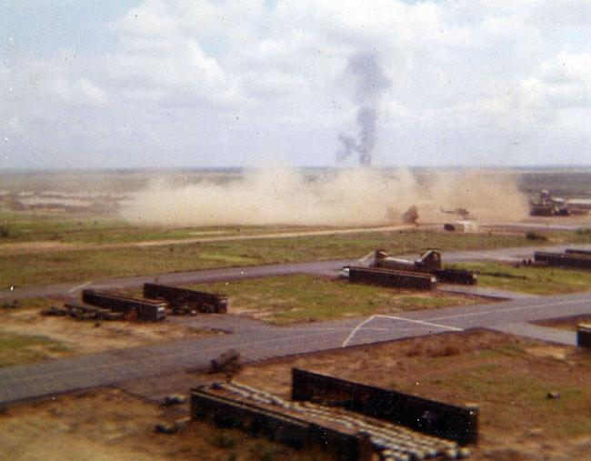 Fire base Neil in Cambodia. Artillery shell hit.