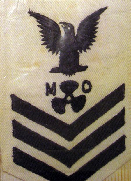 1st Class Petty Officer in the Navy patch worn by Fred Garvin. The MO stands for Diesel machinist.