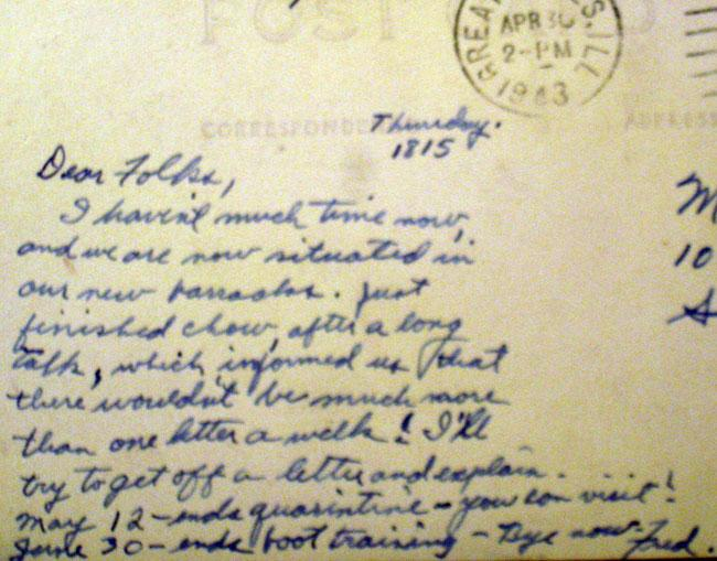 Letter home by Fred. April 30, 1943.