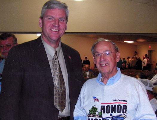 Left Earl Morse founder of Honor Flight with Fred Garvin.
