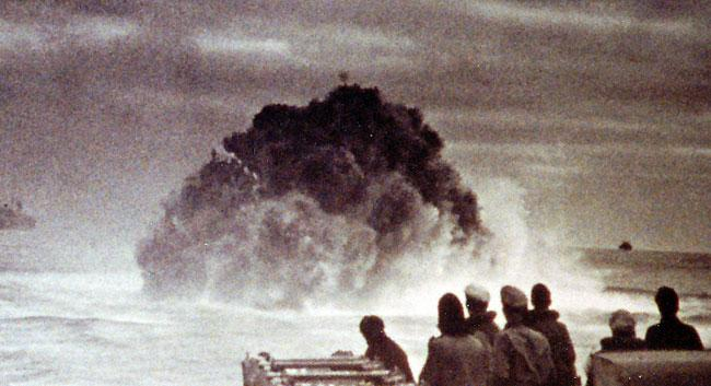 Sinking of a U-Boat by depth charges.