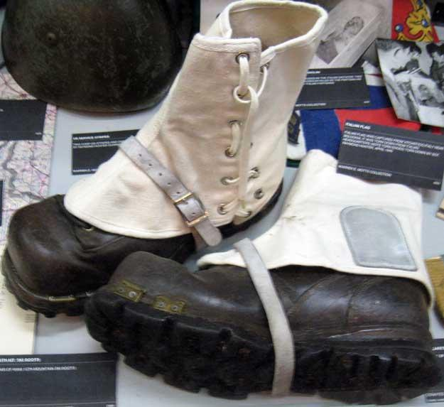Boots worn by the 10th Mountain Division in World War II.