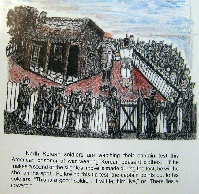 North Korean soldiers are watching their captain test an American POW. If the prisoner makes a sound or moves they will be shot. If the soldier does not move then they will live.