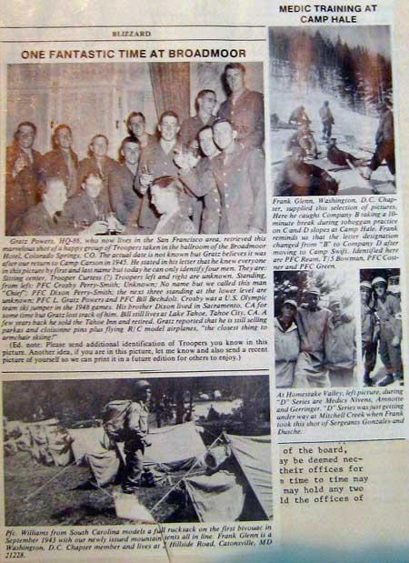 Camp Hale and the 10th Mountain Division in the paper.