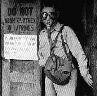 Clowning around:  Latrine was often out of order but never without odor, so Briggs came prepared.