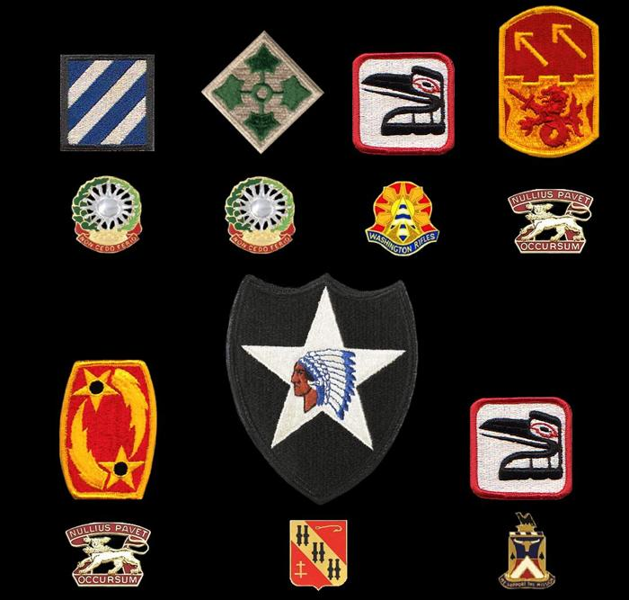 SSI worn, Top row from left-to-right: 3rd Infantry 'Marne' Division (Location-Kitzingen, Germany), 4th Infantry 'Ivy' Division (Location-Fort Carson, Colorado), 81st Armored Brigade (Location-Seattle, WA), 94th Air Defense Artillery (ADA) Brigade (Location-Hanau, Germany; Bottom row: 69th Air Defense Artillery (ADA) Brigade (Location-Hanau, Germany), 2nd Infantry 'Indianhead' Division (Location-Fort Lewis, Washington), Redesignated 81st Brigade Combat Team (BCT) (Location-Seattle, Washington).  Distinctive Unit Insignia-Top Row: 3rd ADA Regiment (Assigned unit-4th Battalion, 3rd ADA), 3rd ADA Regiment (Assigned unit-1st Battalion, 3rd ADA), HHC 81st Armored Brigade (Assigned unit-HHC 81st Armored Bde), 7th ADA Regiment (Assigned unit-5th Battalion (Patriot), 7th ADA).  Bottom row: 7th ADA Regiment (Assigned unit-5th Battalion (Patriot), 7th ADA), 5th ADA Regiment (Assigned unit-C Battery, 5th Battalion, 5th ADA), & 181st Support Battalion (Assigned unit-HHC 181st Support Battalion)