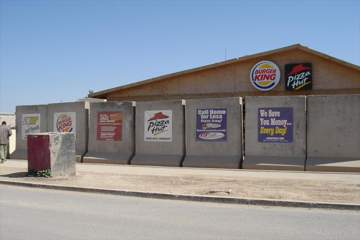 Even in a combat zone, you can't escape it; fast food chains!  Even in Iraq we had the comforts of home, to include some well know fast food joints.  But you couldn't eat this stuff everyday if you worked indoors.  For those of us who worked 10 to 12 hours a day in all our combat gear didn't have this issue.