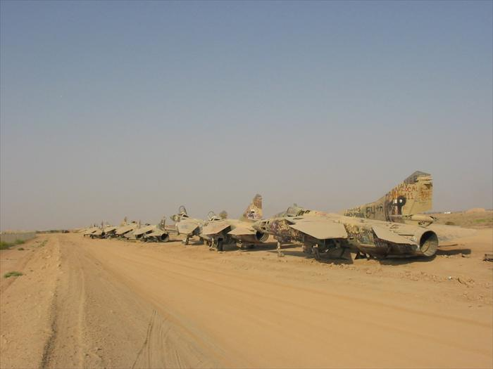 A picture of 'Mig Alley,' remnants of the Iraqi Air Force that was left-over on the base from the Desert Storm era.